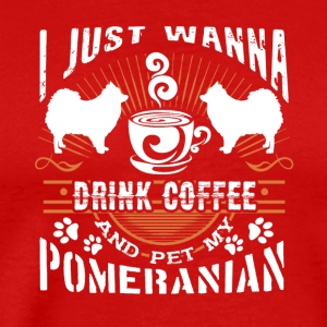 Coffee And Pomeranian Shirt - Men's Premium T-Shirt