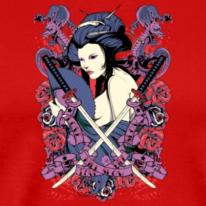 nude japanese geisha with samurai swords - Men's Premium T-Shirt