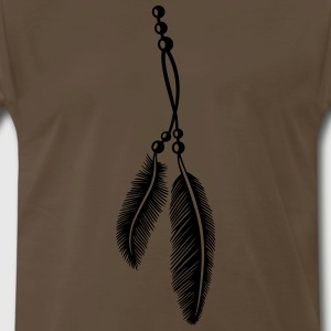 Feathers on a band with pearls, Indian Style. - Men's Premium T-Shirt