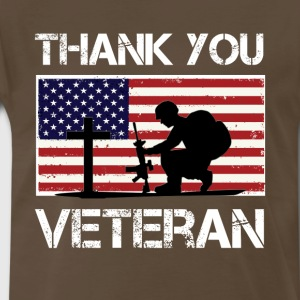 American Flag Veteran T-Shirt - Thank you Veterans - Men's Premium T-Shirt