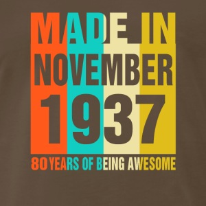 Retro November Made in 1937 80 Years Of Awesome - Men's Premium T-Shirt