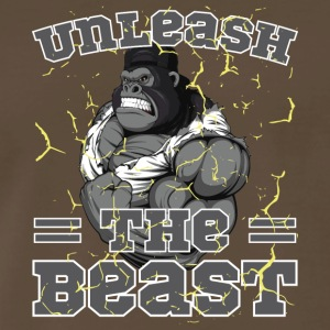 Unleash The Beast Bodybuilder Gorilla Character - Men's Premium T-Shirt
