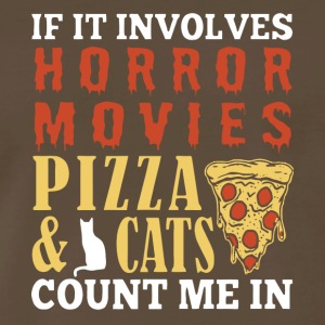 Horror Movies Pizza & Cat Count Me In T Shirt - Men's Premium T-Shirt