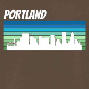 Retro Portland Skyline - Men's Premium T-Shirt