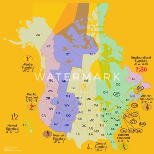 Usa Canada Time Zone Map Men\'s Premium T-Shirt | Spreadshirt