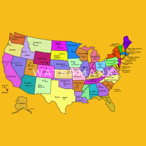 United States Map With Capitals, and State Names by Martmel-BUS ...