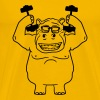 dumbbells strong muscles bodybuilding nerd geek hi - Men's Premium T-Shirt