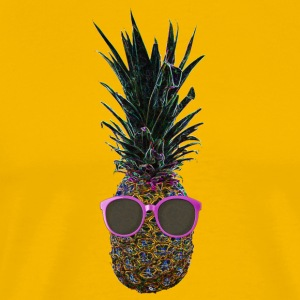 Pop Art Pinapple + Pink Sunglasses Funny Fruit - Men's Premium T-Shirt