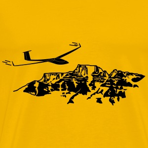 soaring pilot with mountain - Men's Premium T-Shirt