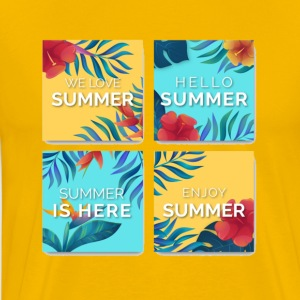 floral summer cards in water color - Men's Premium T-Shirt
