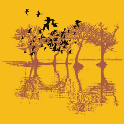 Sketch tree bird nature vector illustration image