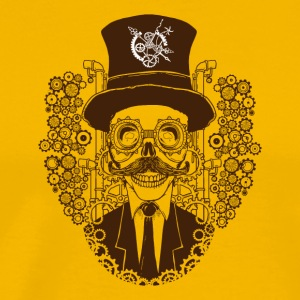 Skull portrait design with a hat and mustache - Men's Premium T-Shirt