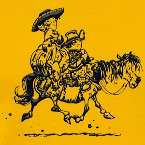 Thelwell Two Cowboys With Their Horse - Men's Premium T-Shirt