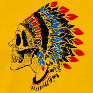 Skull indian leader vector illustration art image - Men's Premium T-Shirt