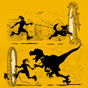 Walking the Dog Running From Dinosaurs - Men's Premium T-Shirt