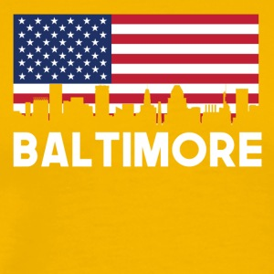 Baltimore MD American Flag Skyline - Men's Premium T-Shirt