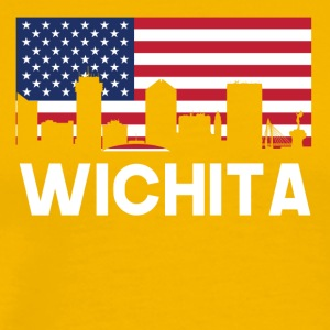 Wichita KS American Flag Skyline - Men's Premium T-Shirt