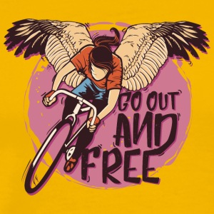 Wings bicycle cyclist go out and free - Men's Premium T-Shirt