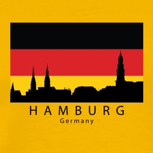 Hamburg Germany Skyline German Flag - Men's Premium T-Shirt