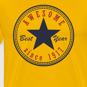 100th Birthday Awesome since T Shirt Made in 1917 - Men's Premium T-Shirt