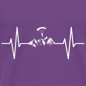 My heart beats for mountains! gift parachute - Men's Premium T-Shirt