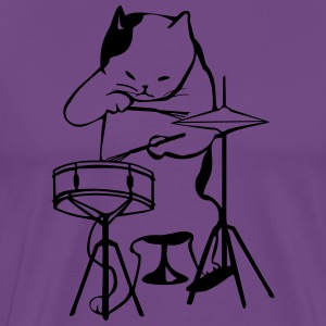 cool drummer cat - Men's Premium T-Shirt