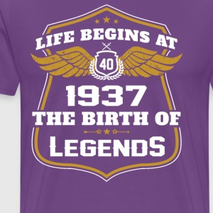 Life Beigns At 1937 The Birth Of Legends - Men's Premium T-Shirt