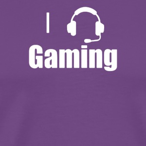I Love,Heart Gaming Headset Cool Video Game - Men's Premium T-Shirt