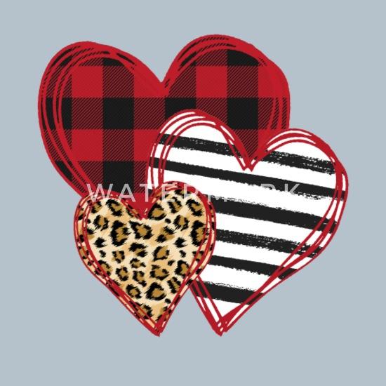 Valentine Three Hearts Leopard Buffalo Plaid Valentines Day Unisex Hoodie