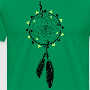 Dreamcatcher with sun and two feathers - Men's Premium T-Shirt