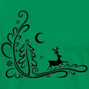 Deer, reindeer, in the forest, silhouette - Men's Premium T-Shirt