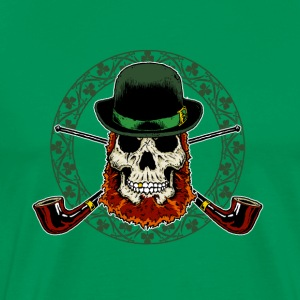 Leprechaun Skull with Crossed Pipes - Men's Premium T-Shirt