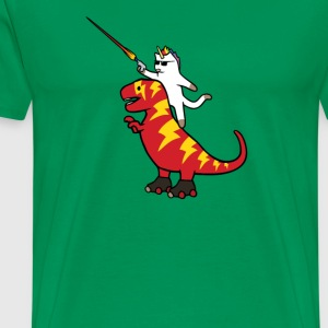 Unicorn Cat Riding Lightning T Rex - Men's Premium T-Shirt