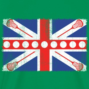 Vintage UK Flag Lacrosse Balls + Bats  Laxing - Men's Premium T-Shirt