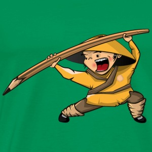 Kung fu man pencil cartoon vector image cool funny - Men's Premium T-Shirt