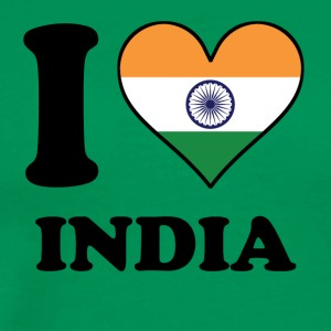 I Love India Indian Flag Heart - Men's Premium T-Shirt