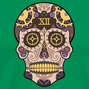 Clock Sugar Skull Pastel - Men's Premium T-Shirt