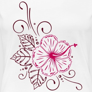 Large hibiscus flower with leaves. - Women's Premium T-Shirt