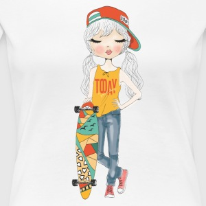 Cute Girl with Skateboard - Women's Premium T-Shirt