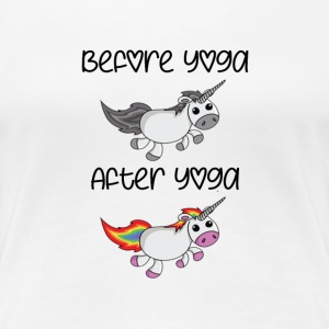 Before Yoga After Yoga Cute Unicorn T-Shirt - Women's Premium T-Shirt