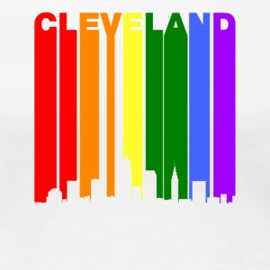 Cleveland Ohio Rainbow Skyline LGBT Gay Pride - Women's Premium T-Shirt