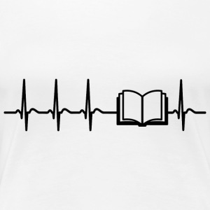 Heartbeat reading bookworm poetry geek cool gift - Women's Premium T-Shirt