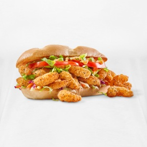 Fried Shrimp Poboy overflowing realistic sandwich