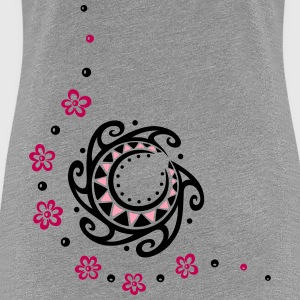Tribal moon with flowers. Indian Haida Style. - Women's Premium T-Shirt