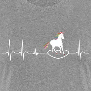 Heartbeat Unicorn Cute Rainbow girl gift Birthday - Women's Premium T-Shirt