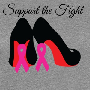 Support the Fight Red Bottom Pink Ribbon Stilettos - Women's Premium T-Shirt