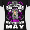 Never Underestimate A Woman Who Was Born In May - Women's Premium T-Shirt