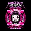 Princesses Are Born On December 1983 34 Years - Women's Premium T-Shirt