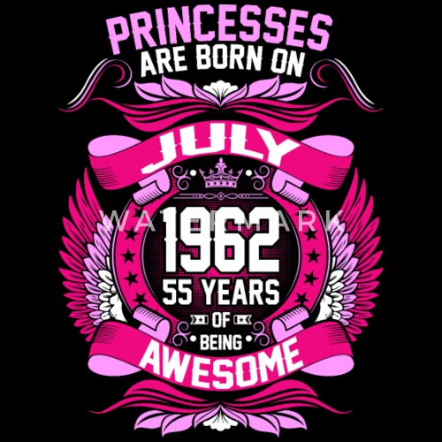 Princesses Are Born On July 1962 55 Years Womens Premium T Shirt