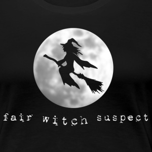 fair witch suspect fly broomstick moon halloween - Women's Premium T-Shirt